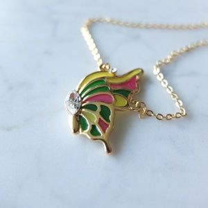 Polychrome Flying Butterfly Rhinestone Necklace